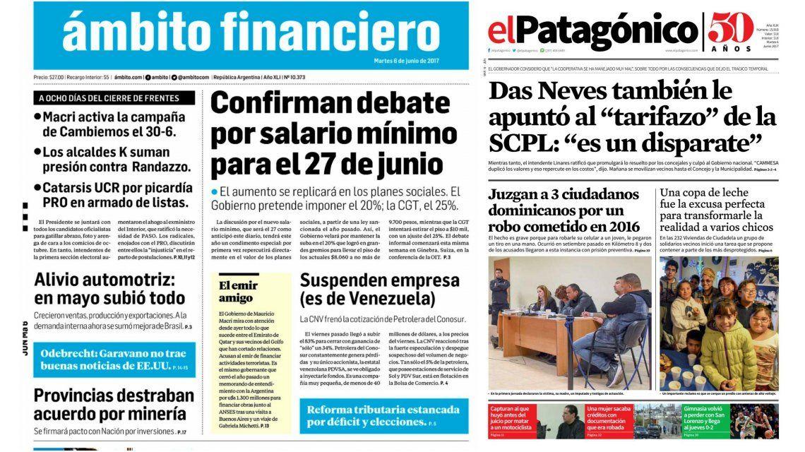 Tapas de diarios del martes 6 de junio de 2017