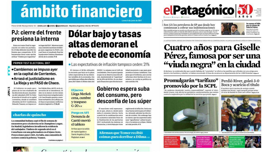 Tapas de diarios del lunes 5 de junio de 2017