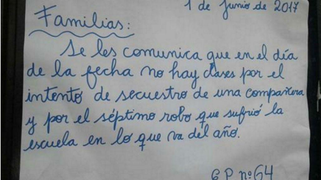 La escuela 64° de Francisco Solano se suma a la ola de instituciones que suspendieron las clases