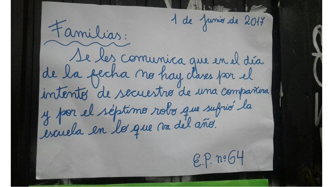 El colegio decidió suspender las clases por los reiterados hechos de inseguridad