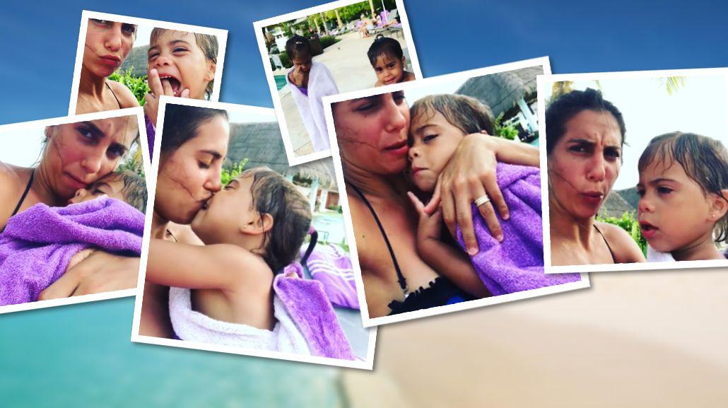Cinthia Fernández y sus hijas Charis