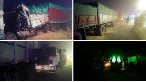 Asi quedaron los camiones tras el choque