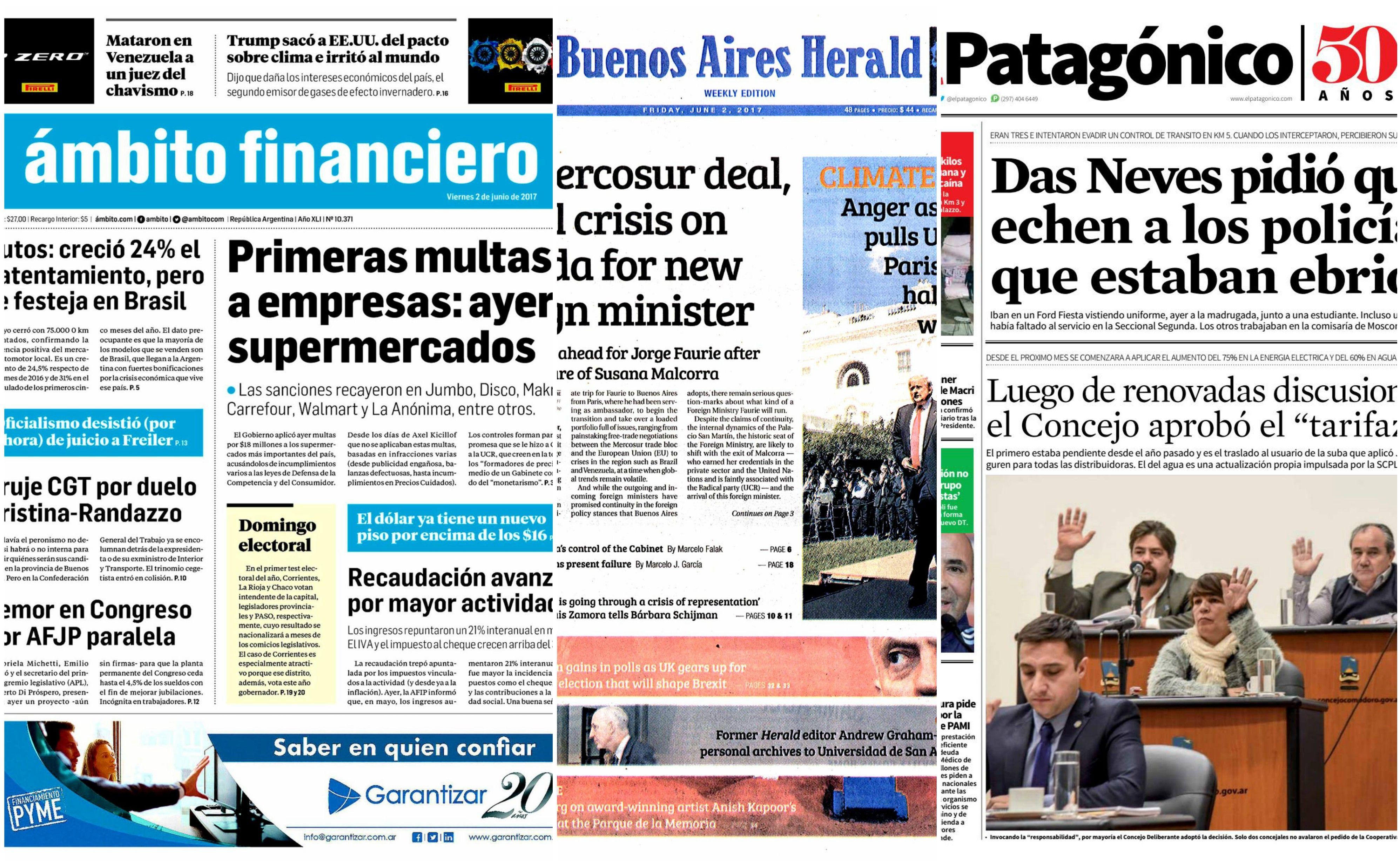 Tapas de diarios del viernes 2 de junio de 2017