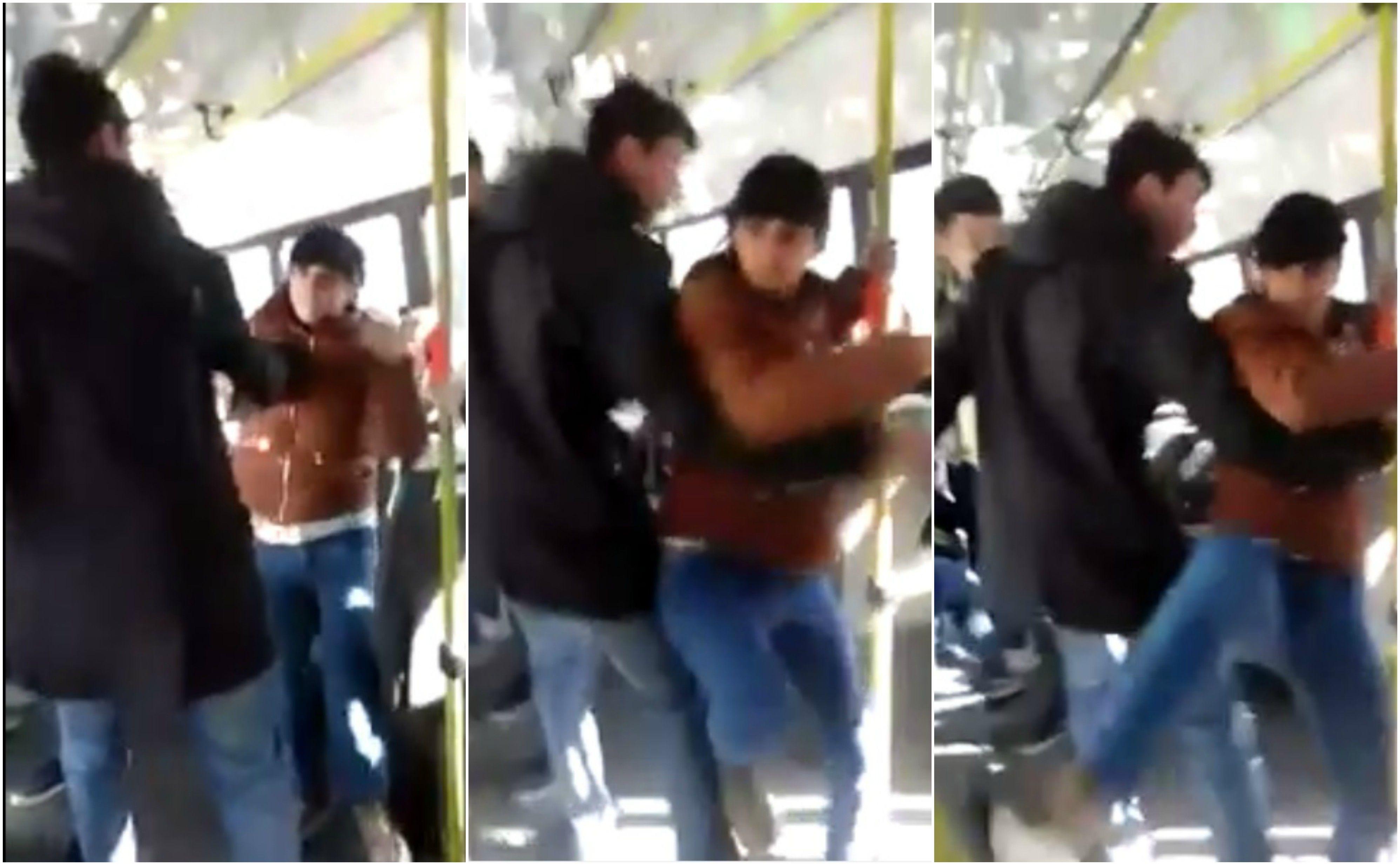Una joven quiso pegar a una señora que iba en un colectivo