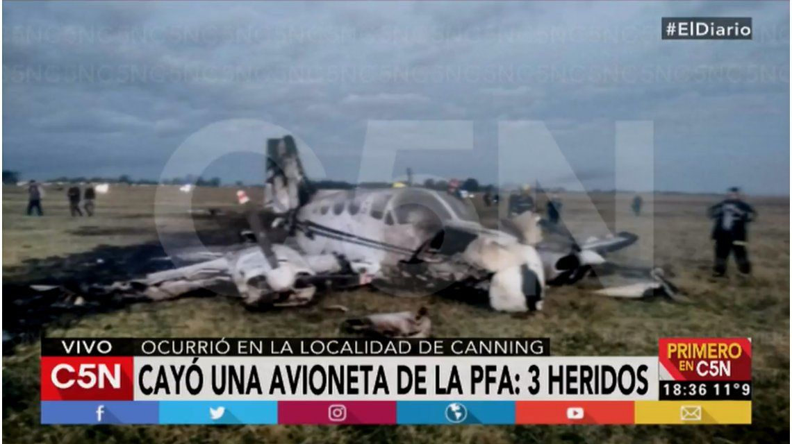 Cayó una avioneta de la Policía Federal: hay 3 heridos