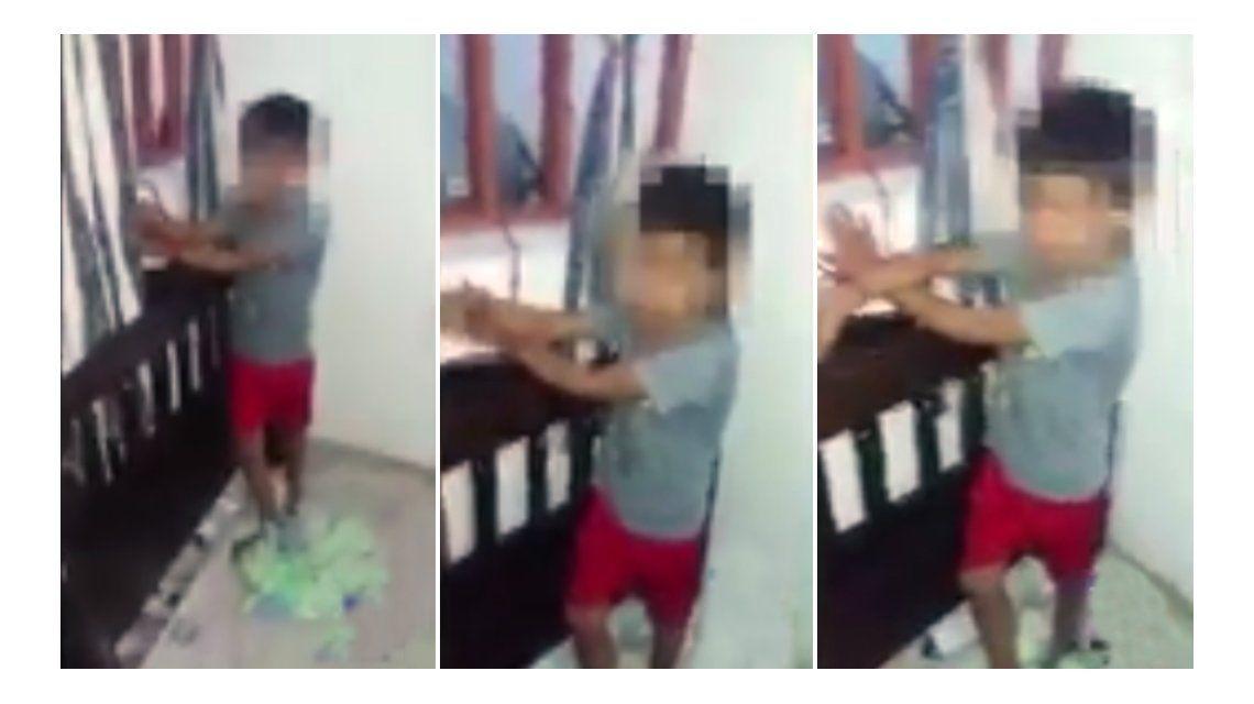 El nene estuvo cuatro horas atado en una ventana