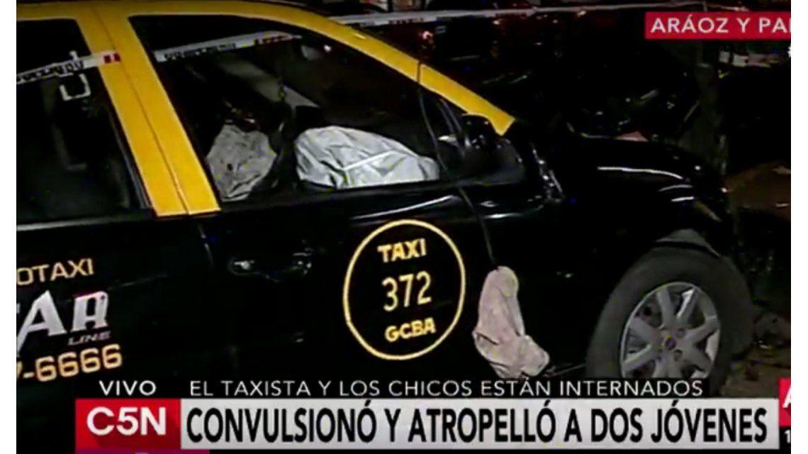 Un taxista convulsionó y atropelló a dos jóvenes que caminaban por Palermo