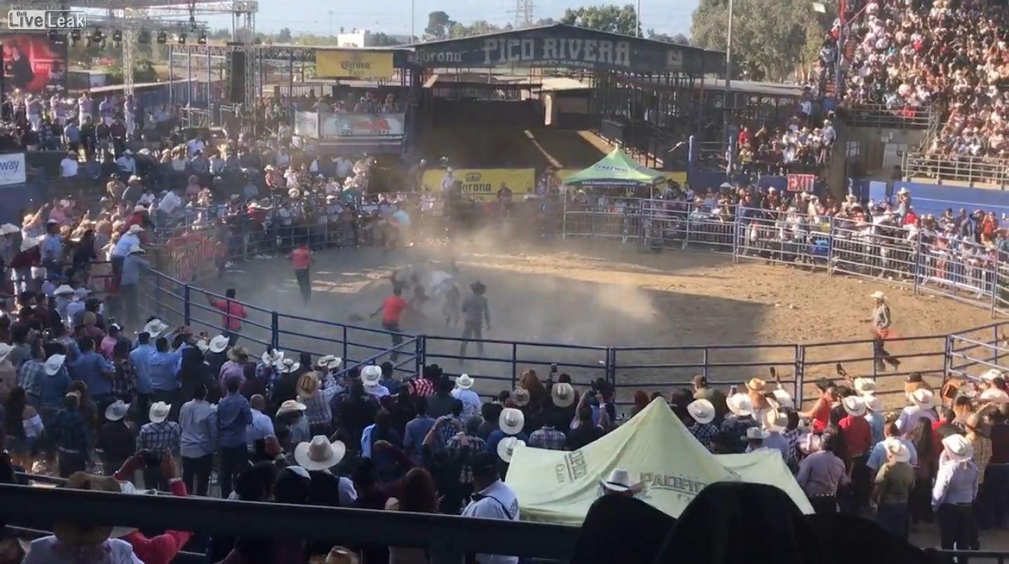 Un toro hace volar por los aires a un hombre que lo había montado