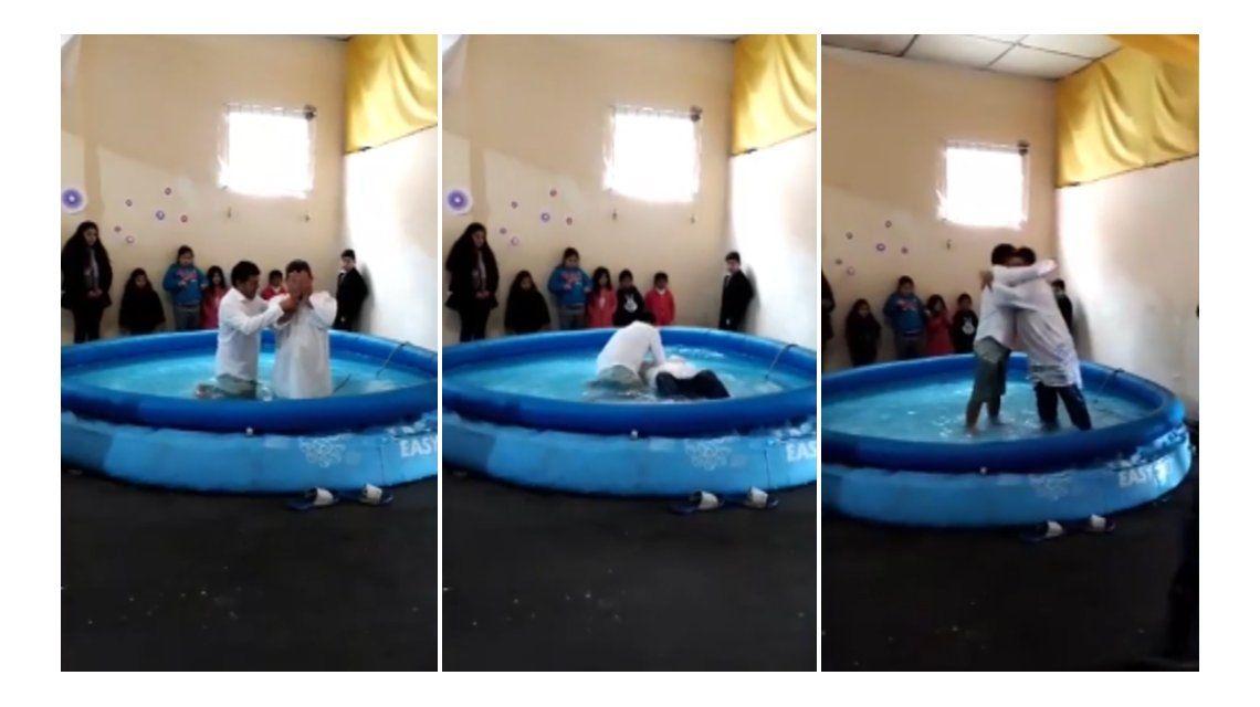 Se viralizó un video del bautismo de Alfredo Olmedo en una pelopincho