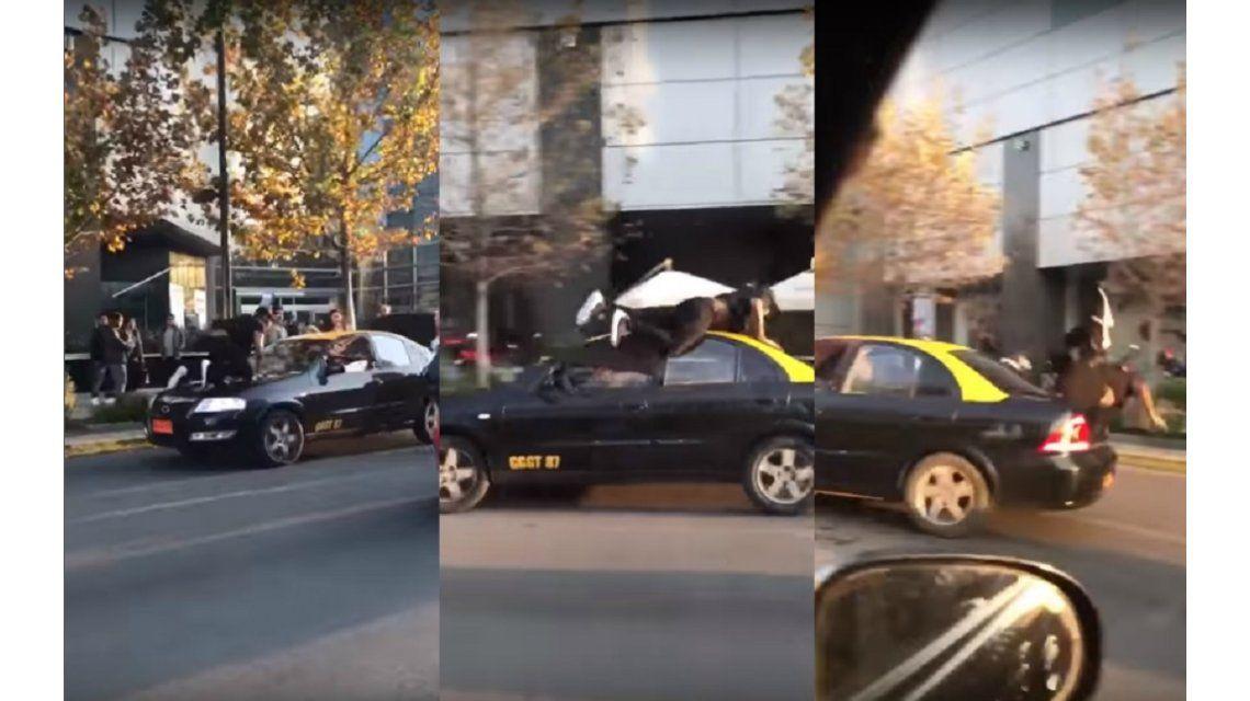 El taxista atropelló al peatón que quiso detenerlo