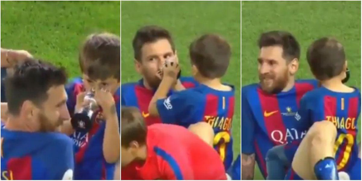 Lionel Messi y Thiago tras el partido del Barcelona