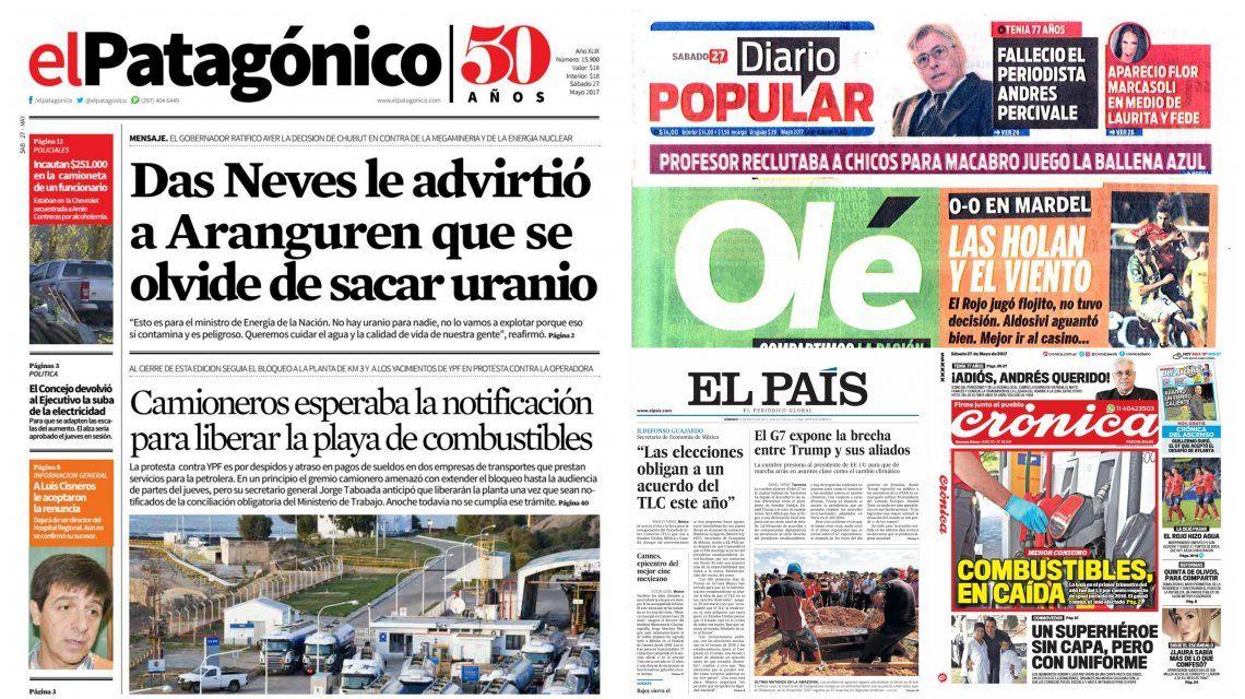Tapas de diarios del sábado 27 de mayo de 2017