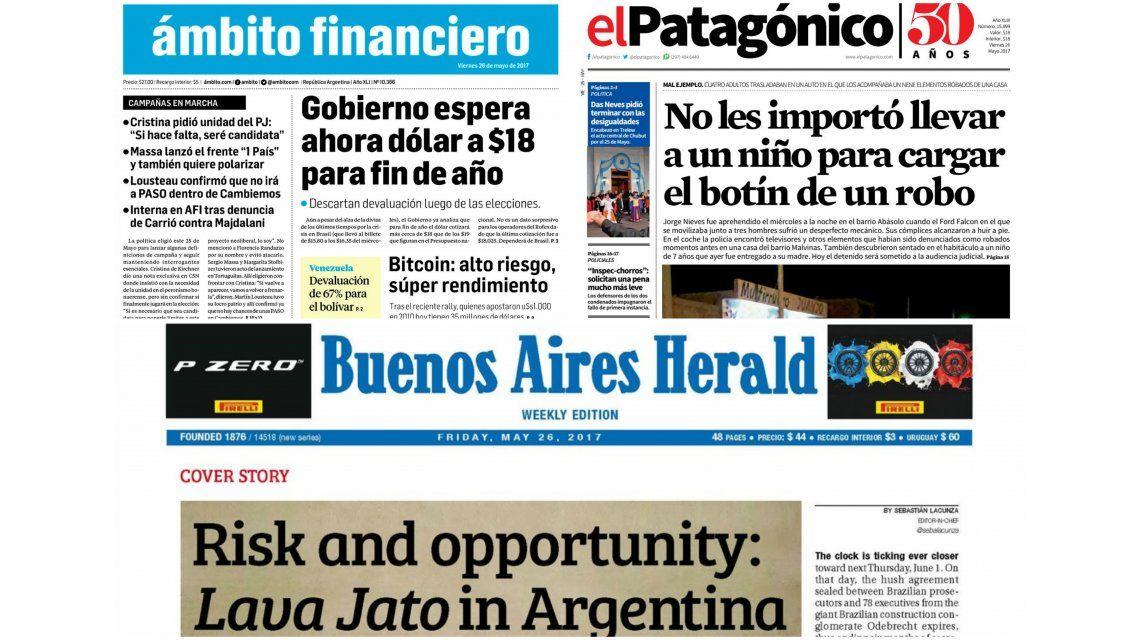 Tapas de diarios del viernes 26 de mayo de 2017