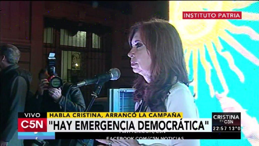 Cristina Kirchner en el Instituto Patria ante sus militantes