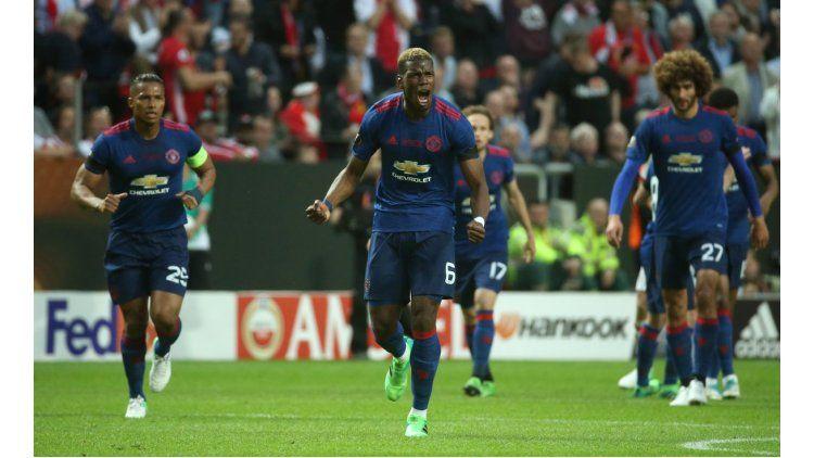 La celebración de Pogba tras la apertura del marcador ante Ajax