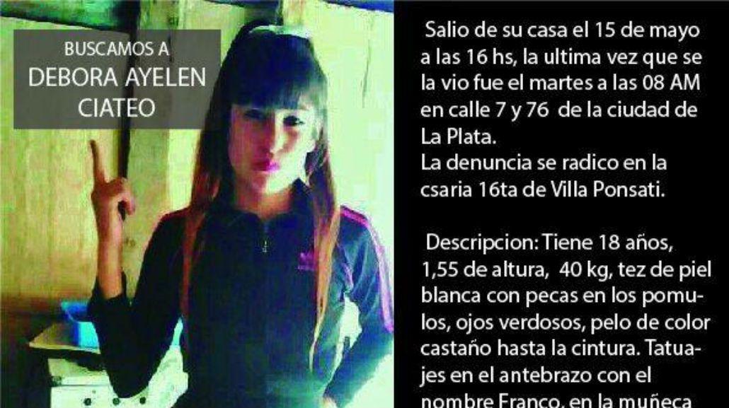 Débora Ayelén Ciateo está desaparecida desde el 15 de mayo