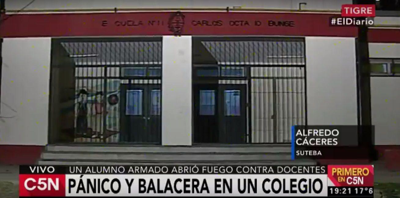 Pánico y tiroteo en un colegio de Tigre: un alumno disparó contra docentes