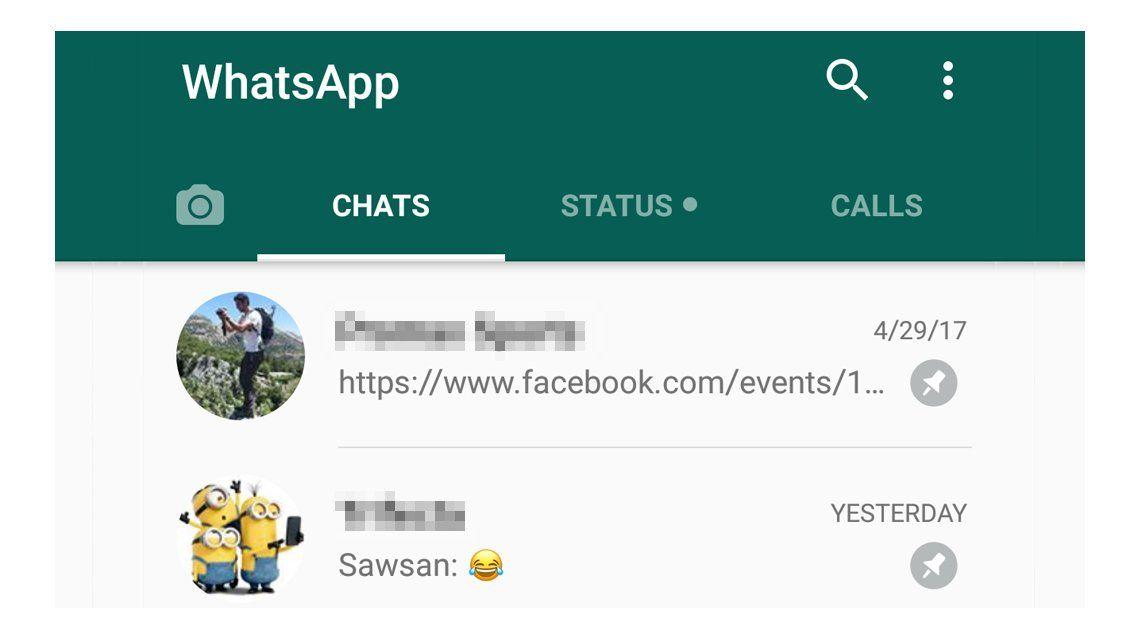 WhatsApp permite fijar conversaciones i