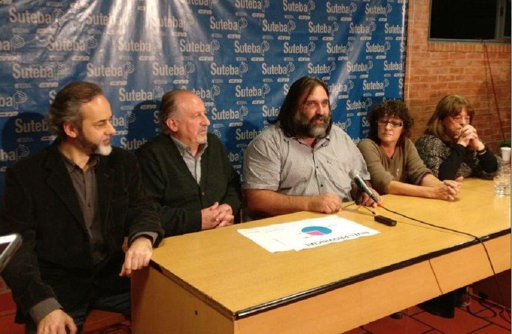 Baradel dio una conferencia tras ser reelecto en Suteba<br>