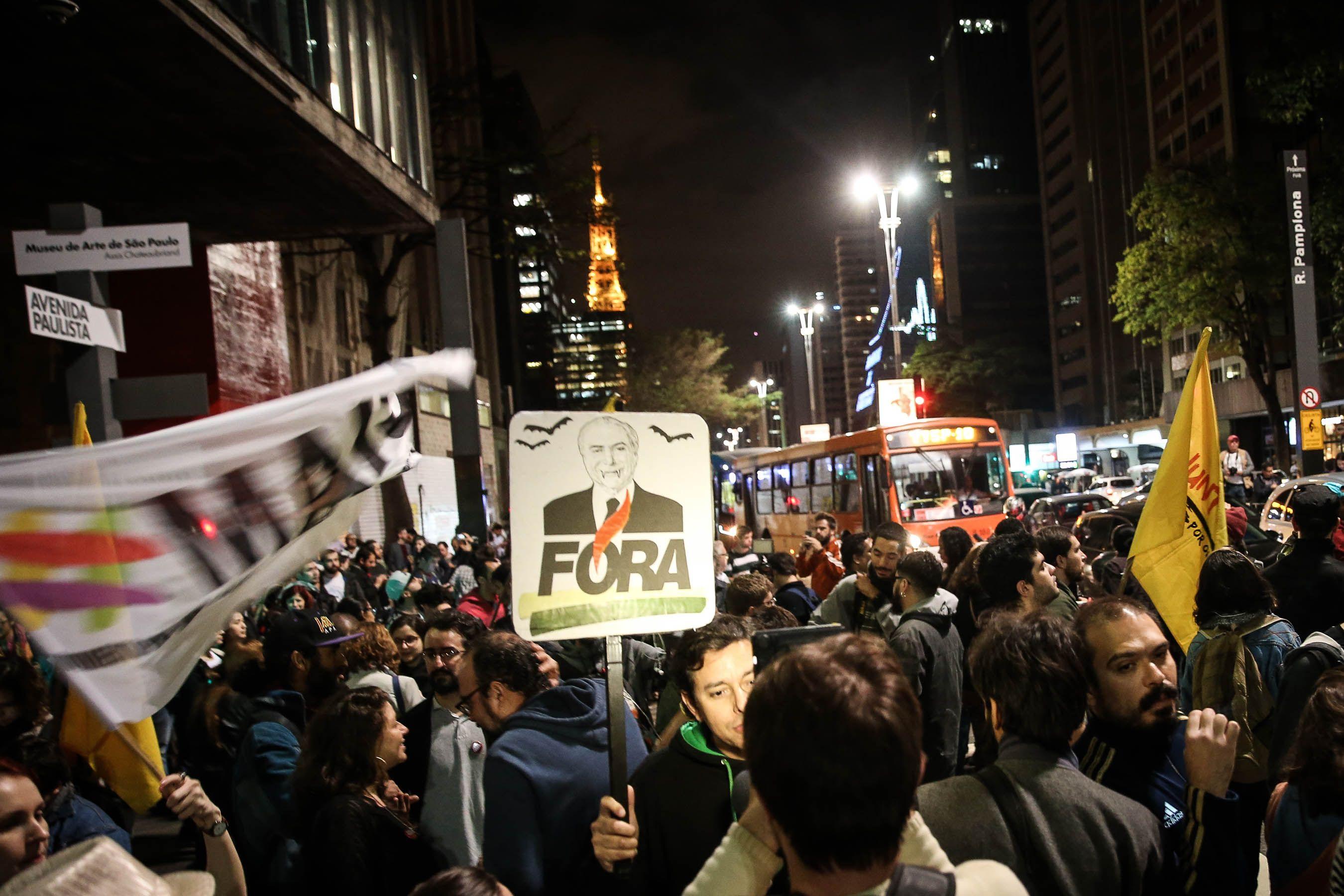 Protestas en la avenida Paulista de San Pablo