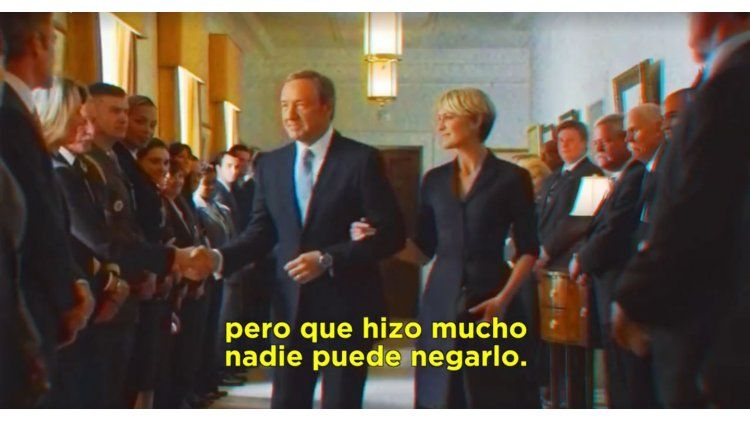 House of Cards usó un spot de Menem