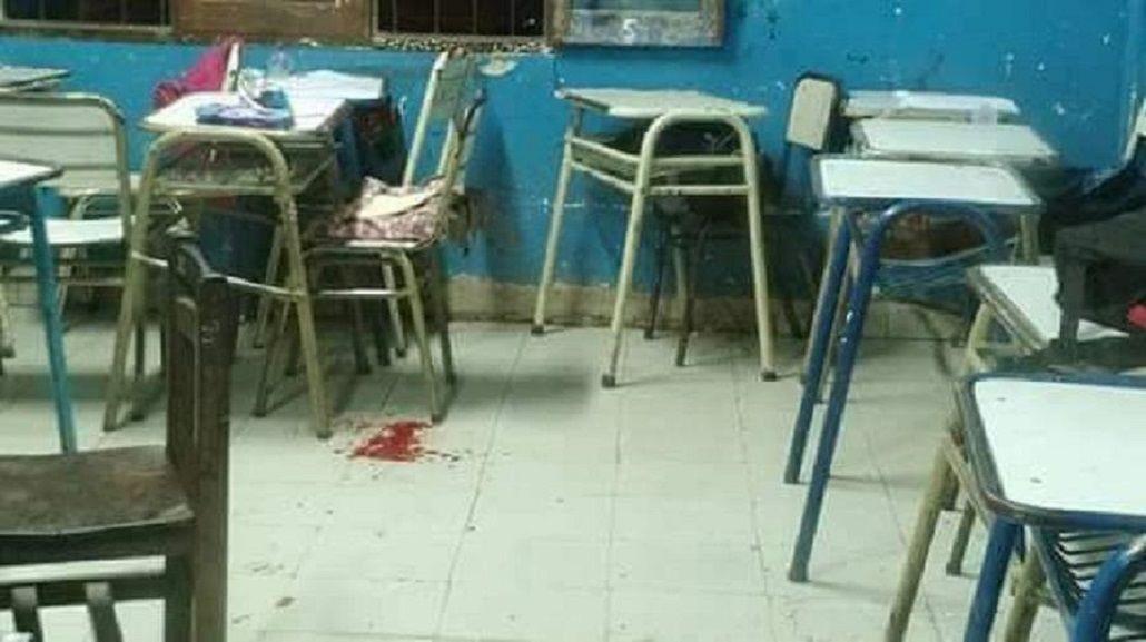 Así quedó el aula tras el disparo