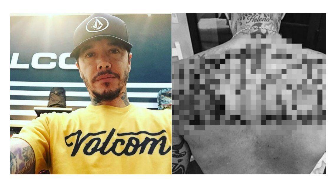 Sebastián Ortega se tatuó su apellido en la espalda