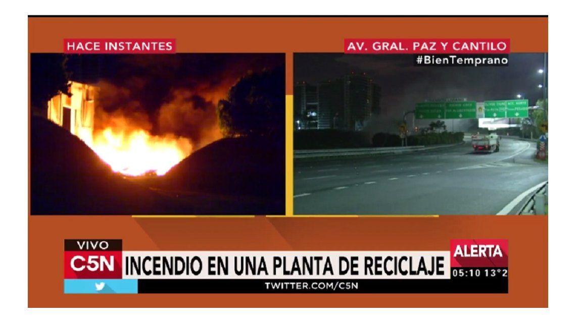 Incendio en General Paz y Cantilo