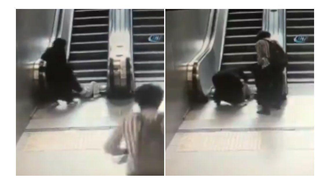 El dramático momento se vivió en una escalera mecánica de Estambul