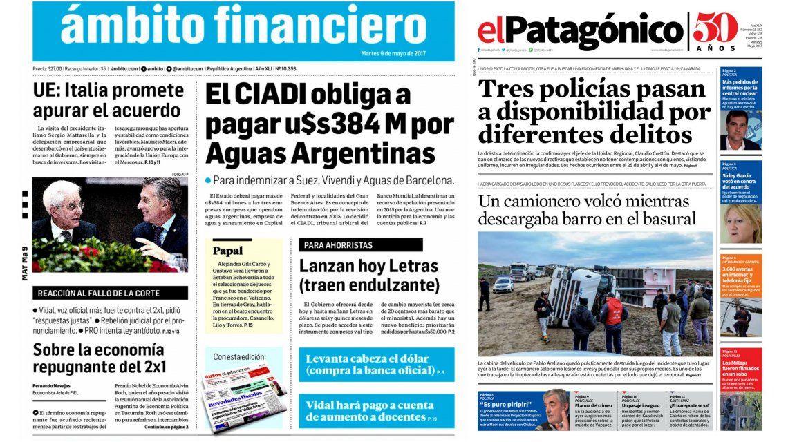 Tapas de diarios del martes 9 de mayo de 2017