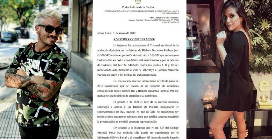 La Justicia falló a favor de Fede Bal en la causa contra Barbie Vélez