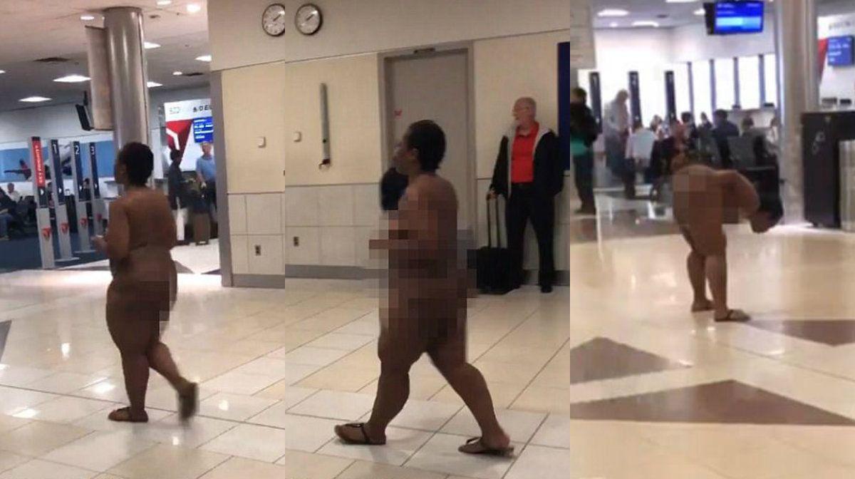 La mujer logró que la arrestaran por andar desnuda en el aeropuerto