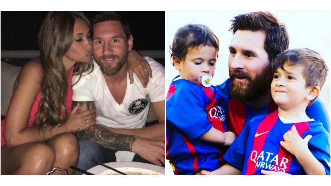 Antonella compartió una foto de Messi y sus hijos