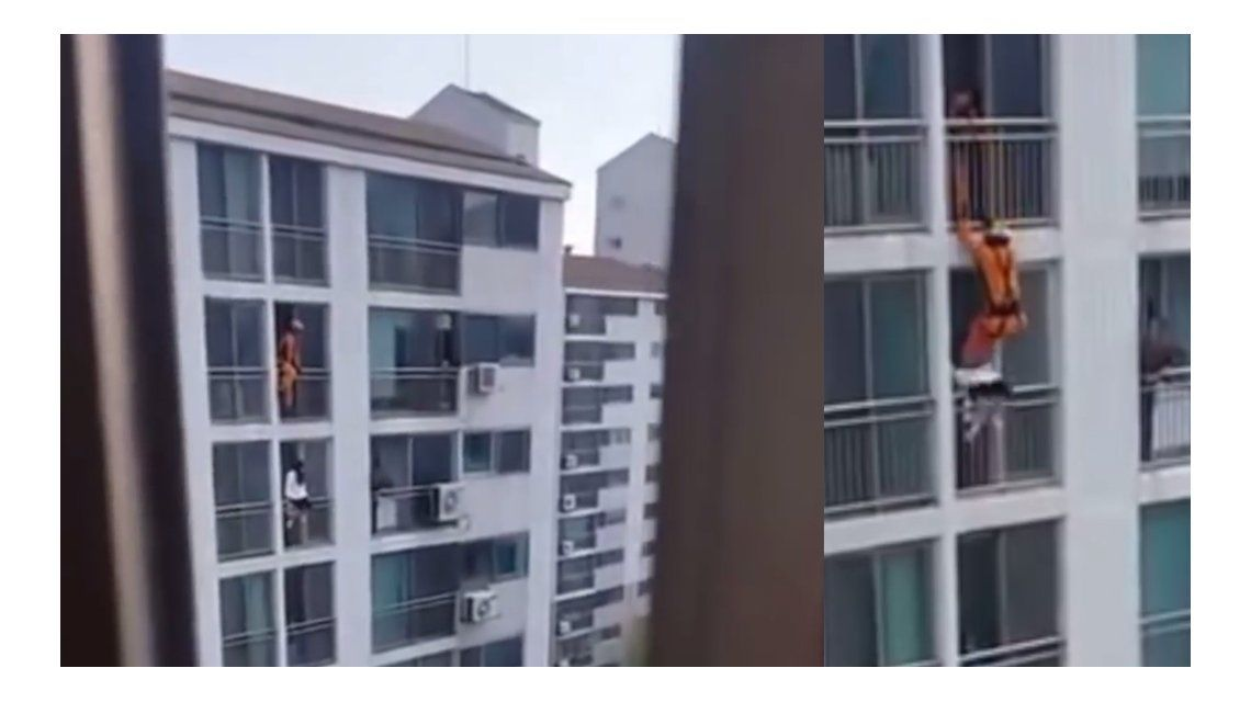 Un bombero salvó de una patada a una mujer que quiso suicidarse