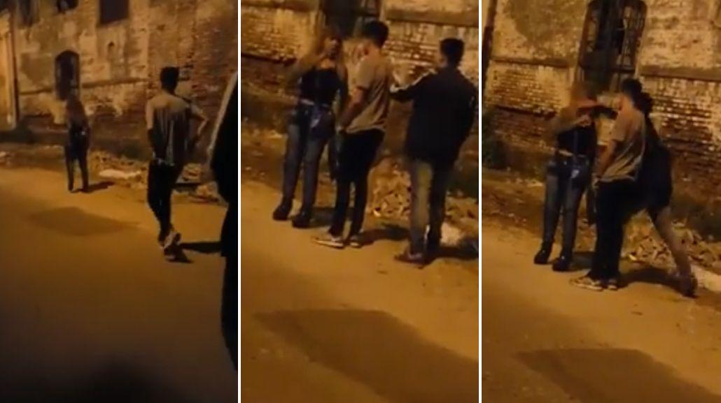 VIDEO: salvaje y cobarde agresión a una mujer en plena calle