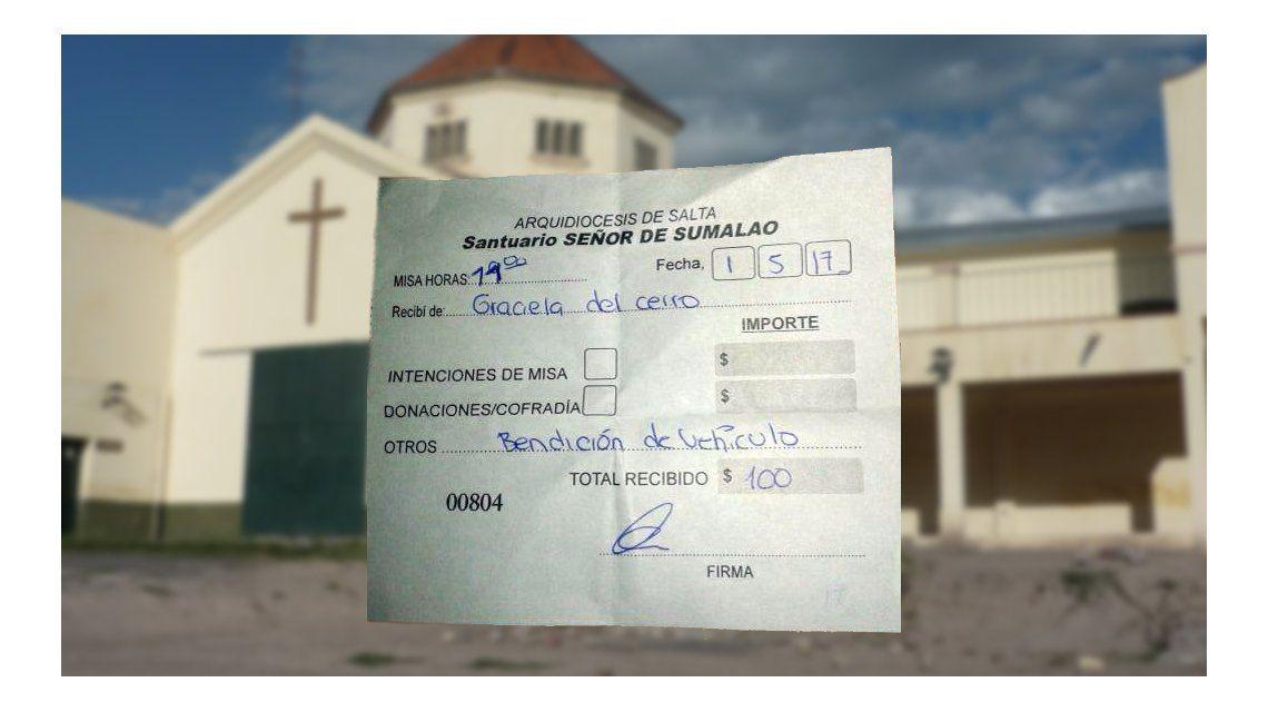 El ticket por el pago de la bendición
