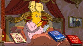 Donald Trump en Los Simpson con un gato, literal, en la cabeza