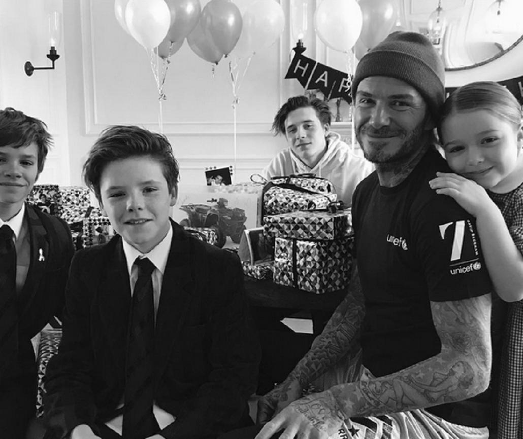 Las fotos del festejo de David Beckham.