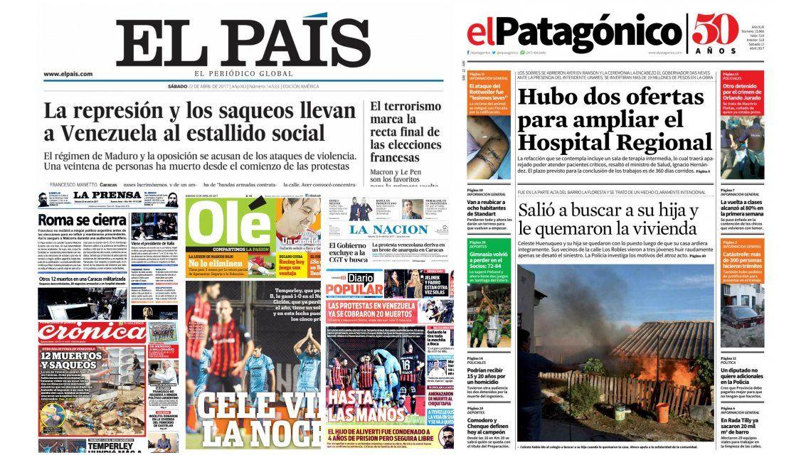 Tapas de diarios del sábado 22 de abril de 2017