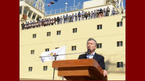 El presidente Macri en el buque rompehielos Almirante Irizar