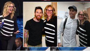 Julia Roberts, con Messi y Cristiano Ronaldo.