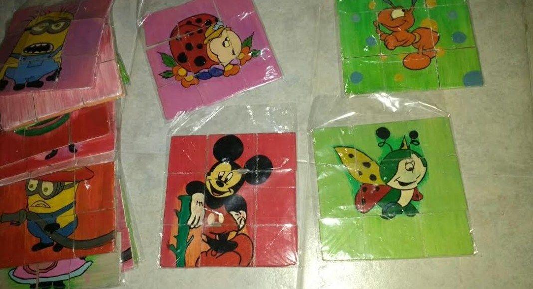 Algunos de los juguetes que Gastón Valdez donó a jardines de infantes