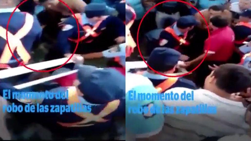El momento en que le roban las zapatillas a Emanuel Balbo