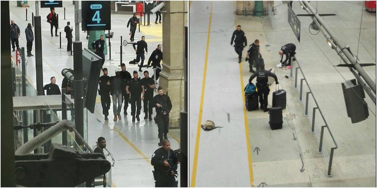 El hombre siendo detenido en la estación de trenes de París