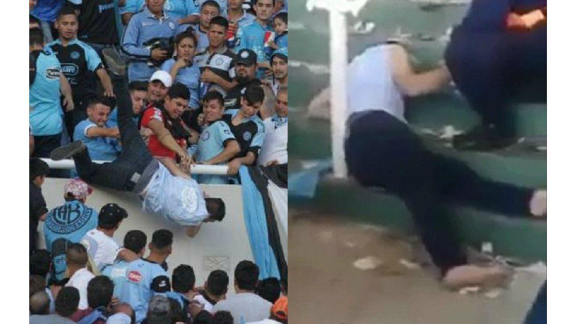 A Emanuel Balbo le robaron la zapatillas tras tirarlo de la tribuna