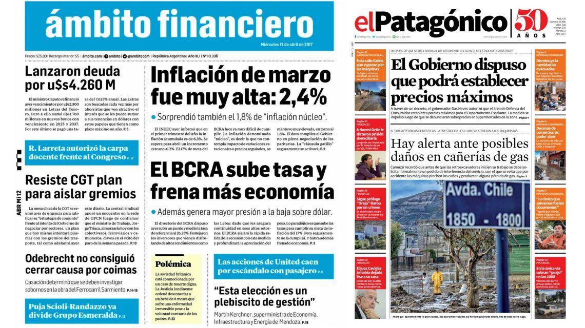 Tapas de diarios del miércoles 12 de abril de 2017