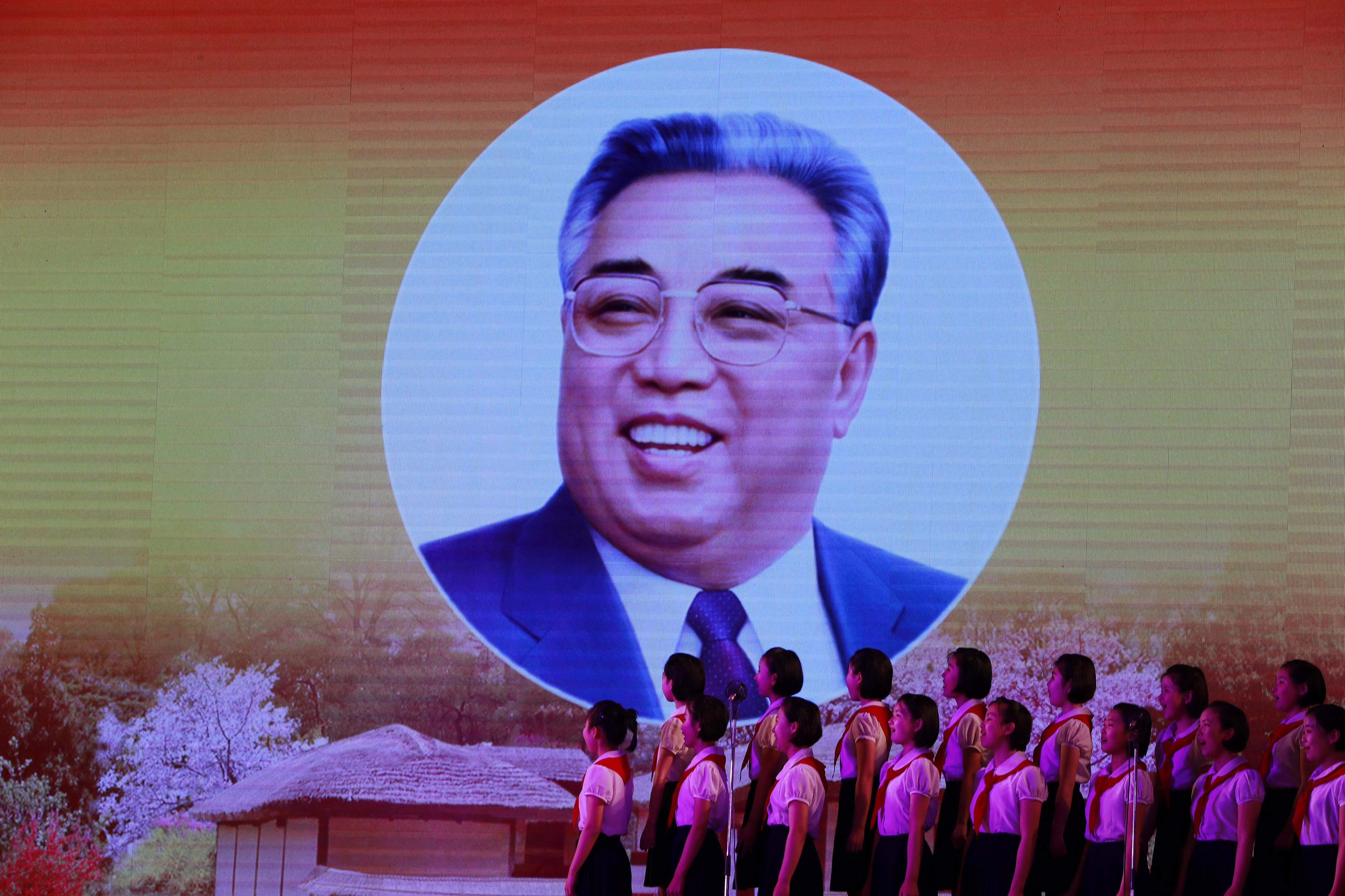 Kim Il-Sung en el Día del Sol de Corea del Norte