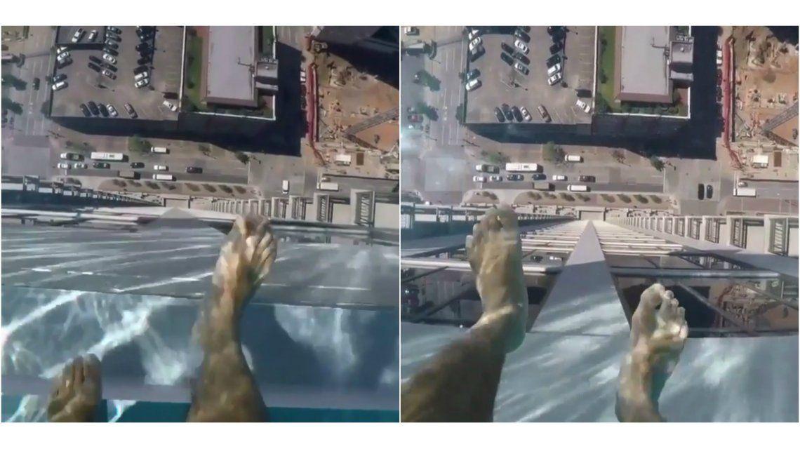 La piscina transparentedel Marquet Square Tower