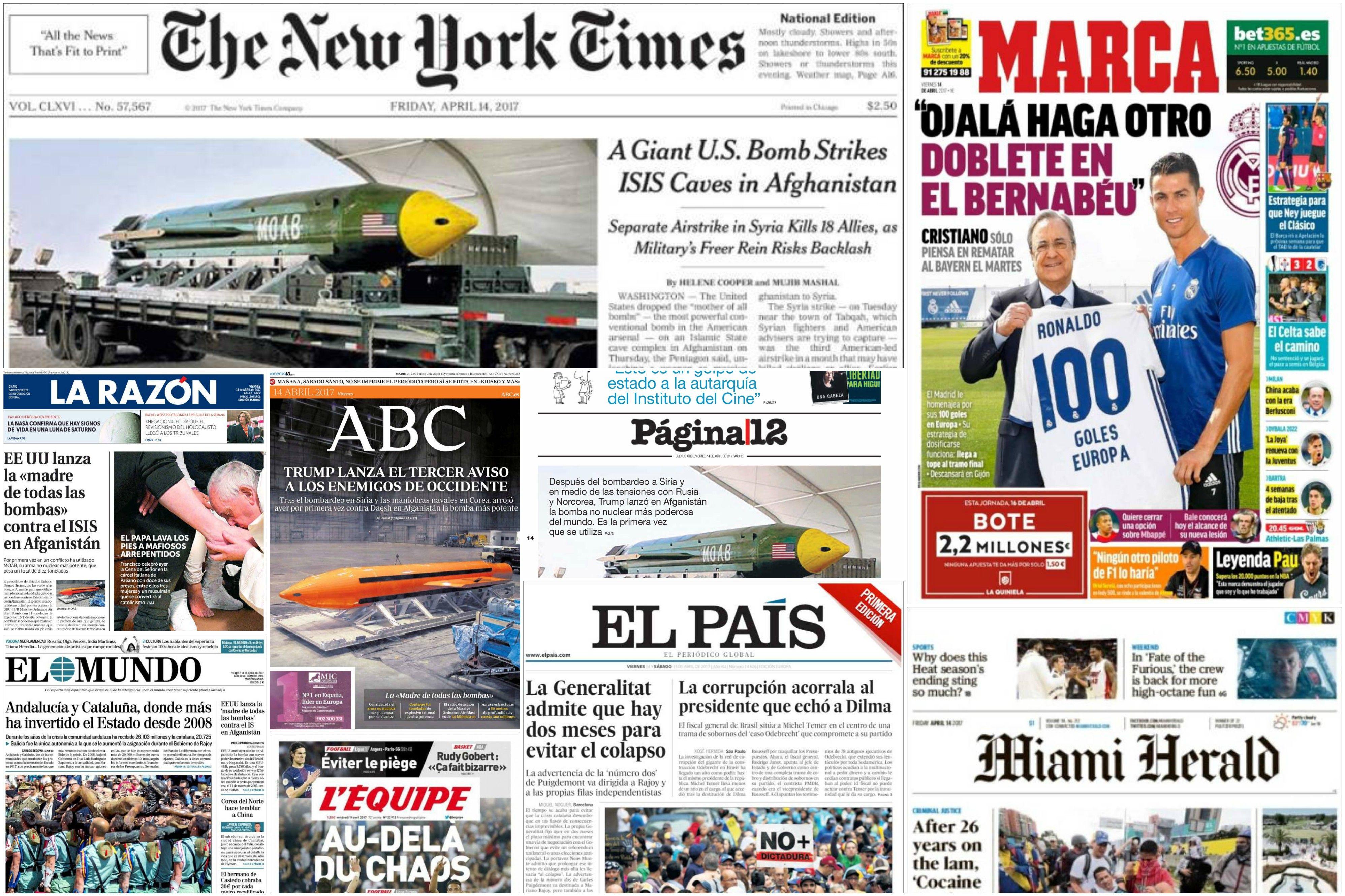 Tapas de diarios del viernes 14 de abril de 2017