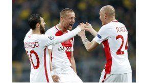 El festejo de los jugadores del Mónaco en Alemania